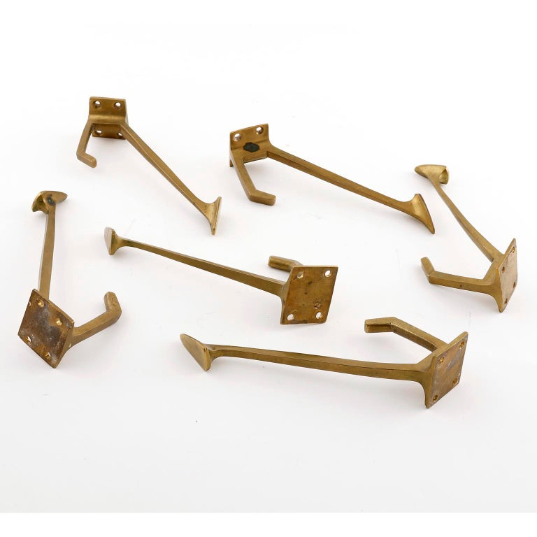Six Coat Wall Hooks, Patinated Brass, Art Deco, 1910 For Sale 3