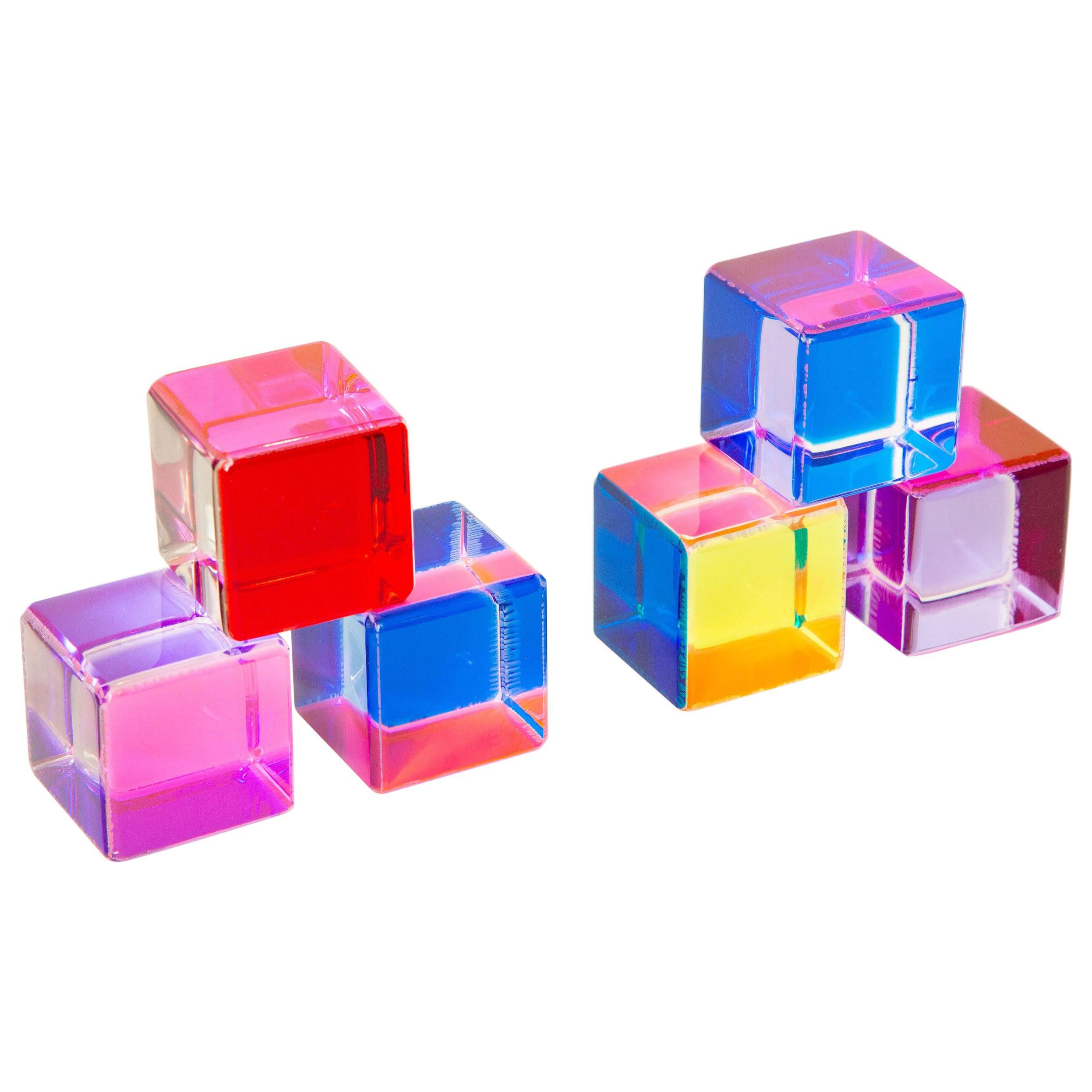 Six Colored Vasa Attributed Laminated Lucite Cube Sculptures