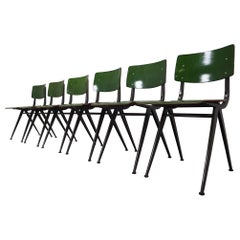 Six Compass Shaped Industrial Chairs by Marko Holland 1960s in Green Patina