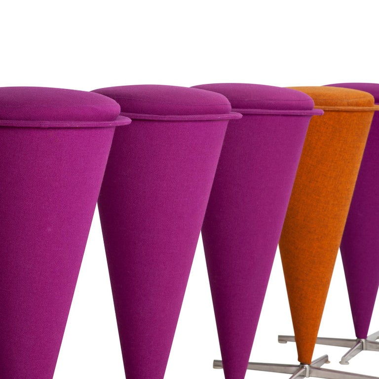 Six cone stools with original textile in vibrant colors. Designed by Verner Panton in 1958.