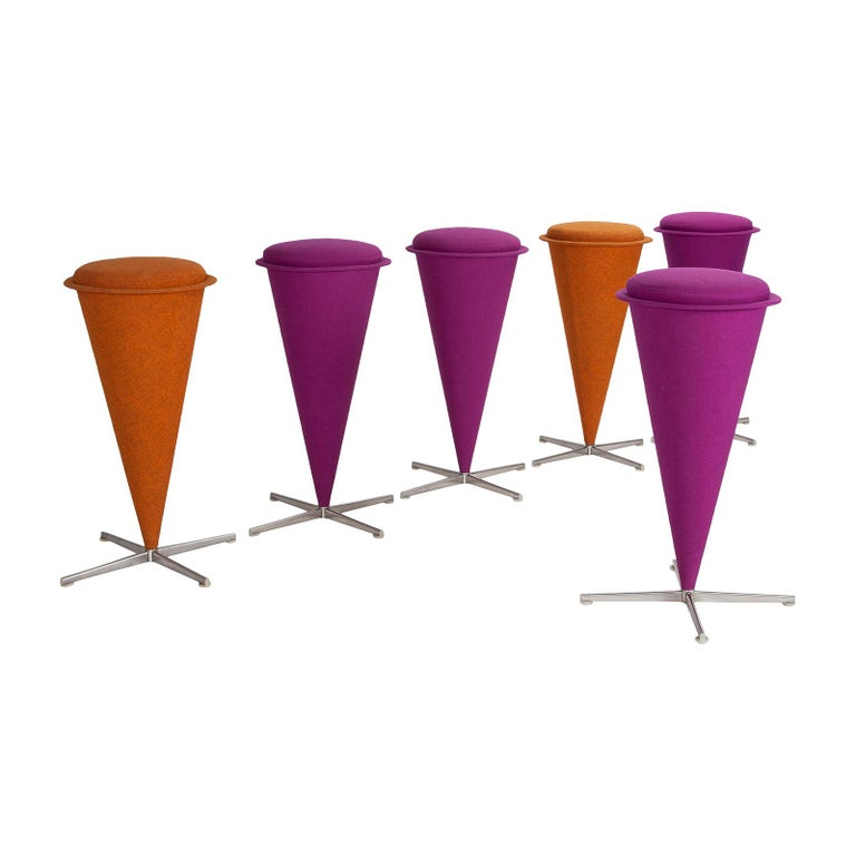 Scandinavian Modern Six Cone Stools by Verner Panton For Sale