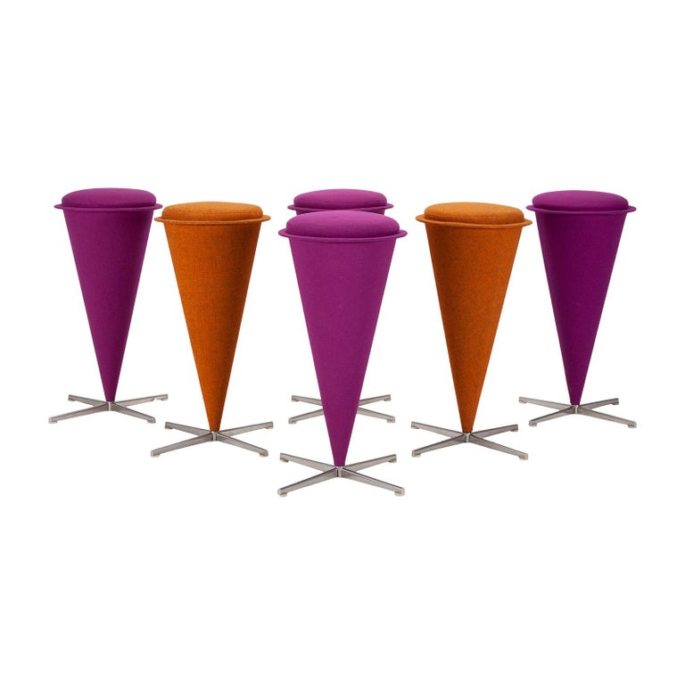 Danish Six Cone Stools by Verner Panton For Sale