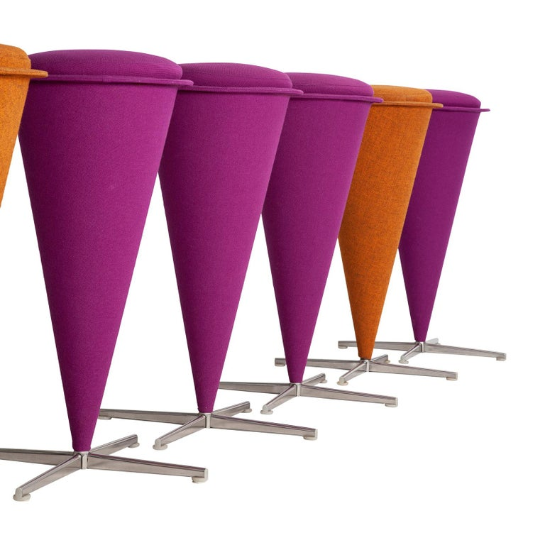 20th Century Six Cone Stools by Verner Panton For Sale