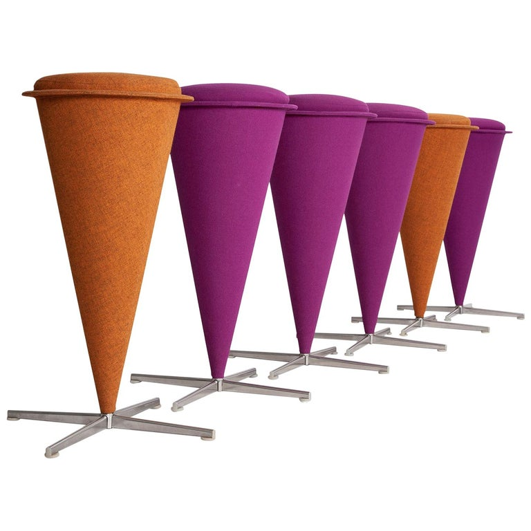 Six Cone Stools by Verner Panton For Sale