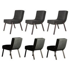Six Contemporary Dining Chairs in Dark Grey Oak