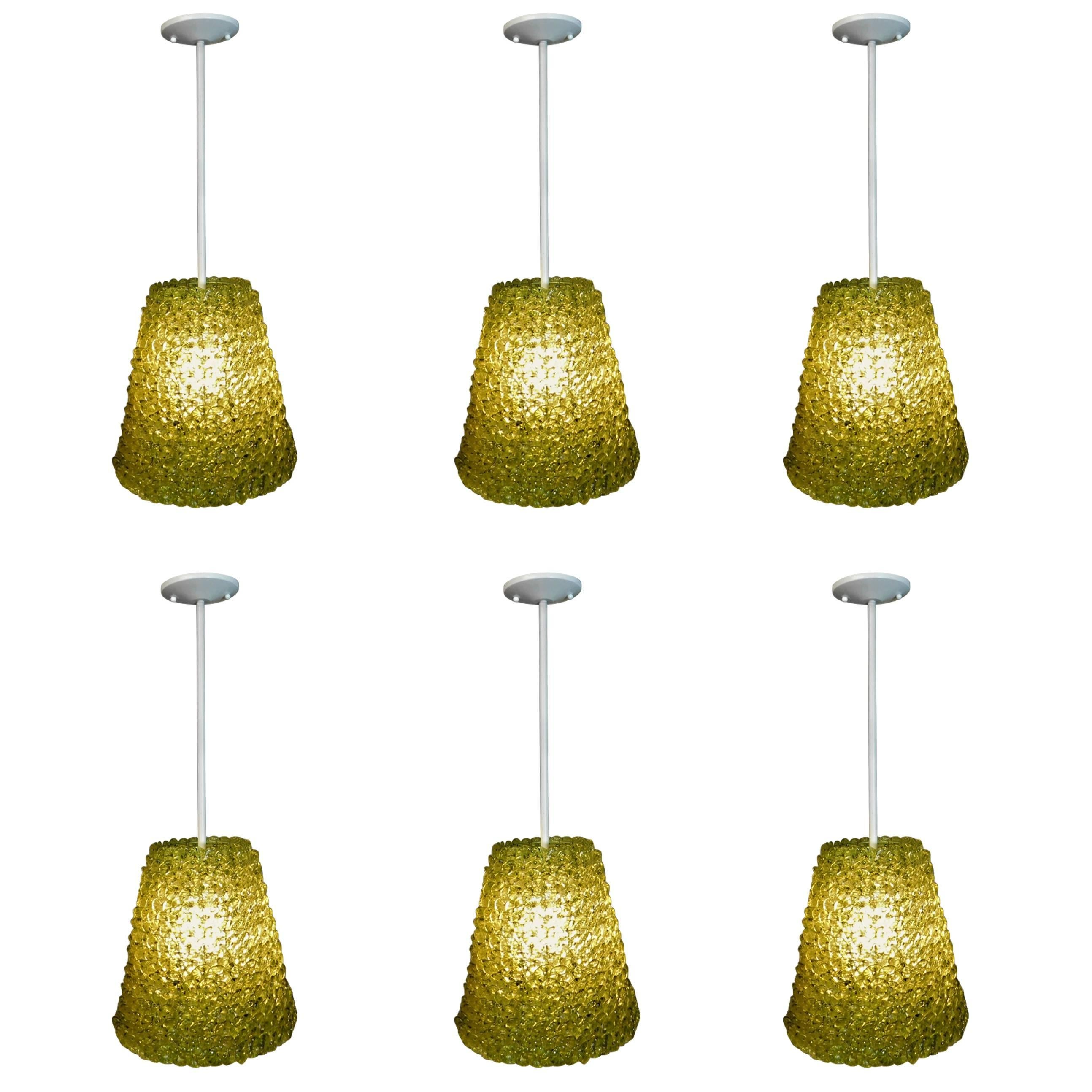 Six Contemporary Glass Flower Petal Pendant Lights