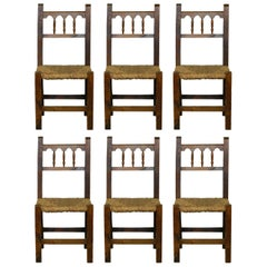 Six Country French Rush Seat Dining Chairs, 20th Century