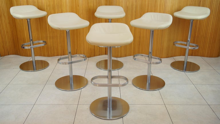 Six Cream Leather Walter Knoll Turtle Bar Counter Stools Chrome Steel Fiberglass For Sale At 1stdibs