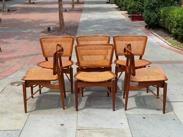 Set of six Finn Juhl for Baker Mid-Century Modern dining room chairs