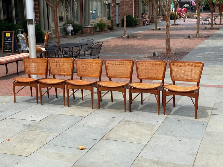 Hand-Crafted Six Danish Finn Juhl For Baker Dining Room Chairs, 1960s For Sale