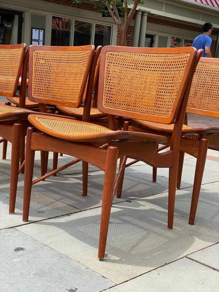 Six Danish Finn Juhl For Baker Dining Room Chairs, 1960s In Good Condition For Sale In Haddonfield, NJ