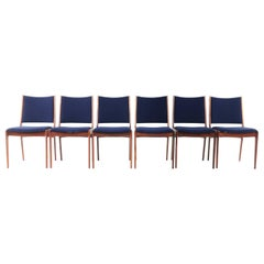 Six Danish Johannes Andersen Brazilian Rosewood Dining Chairs in Blue Kvadrat