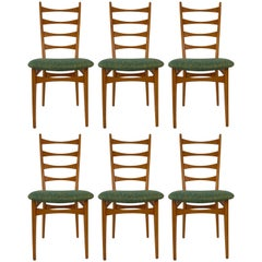 Six Danish Modern Midcentury Ladder Back Dinning Chairs
