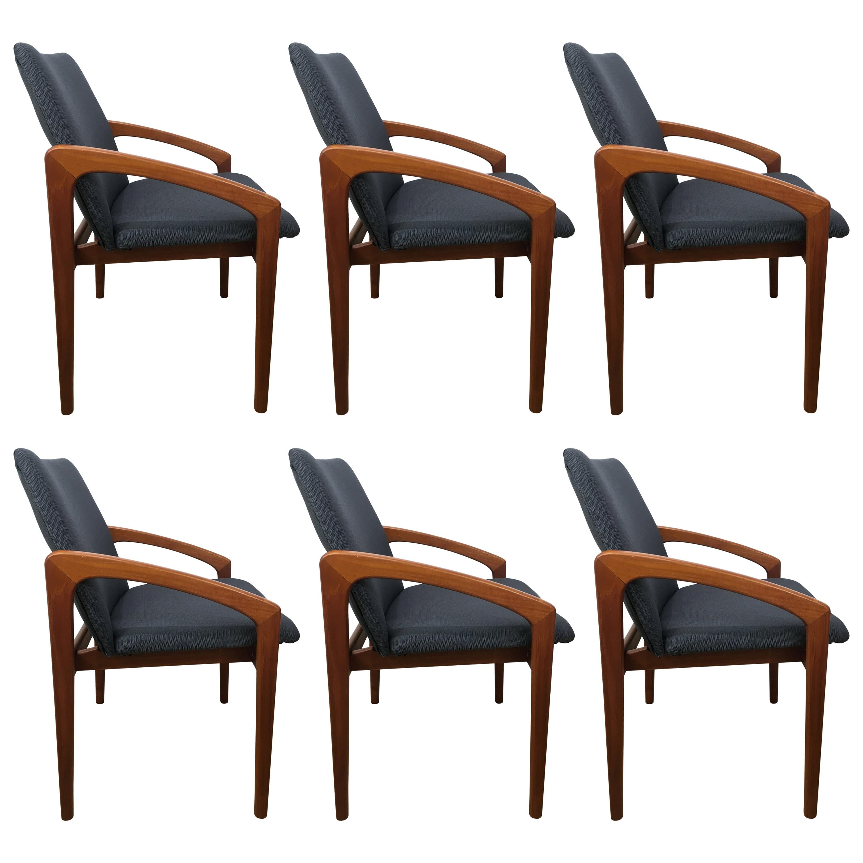Six Danish Modern, Teak Cantilever Dining Chairs