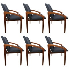 Six Danish Modern, Teak Cantilever Dining Chairs