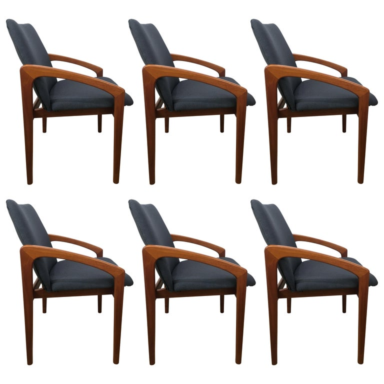 Six Danish Modern, Teak Cantilever Dining Chairs For Sale
