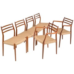 Six Danish Modern Teak Niels O Moller Model 62, 78 Dining Chairs Midcentury