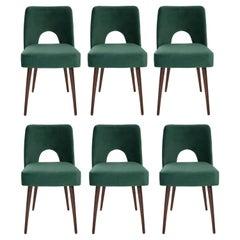 Six Dark Green Velvet 'Shell' Chairs, 1960s