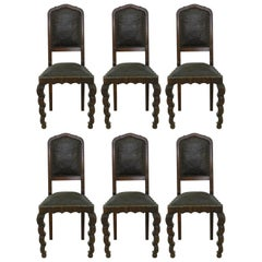 Six Dining Chairs 1910 Art Nouveau Art Deco Rare Find Hollywood Grotto