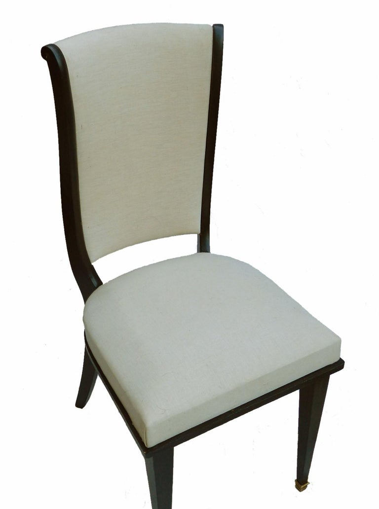 Ebonized Six Dining Chairs Art Deco Empire Rev French Upholstered style of Andre Arbus For Sale