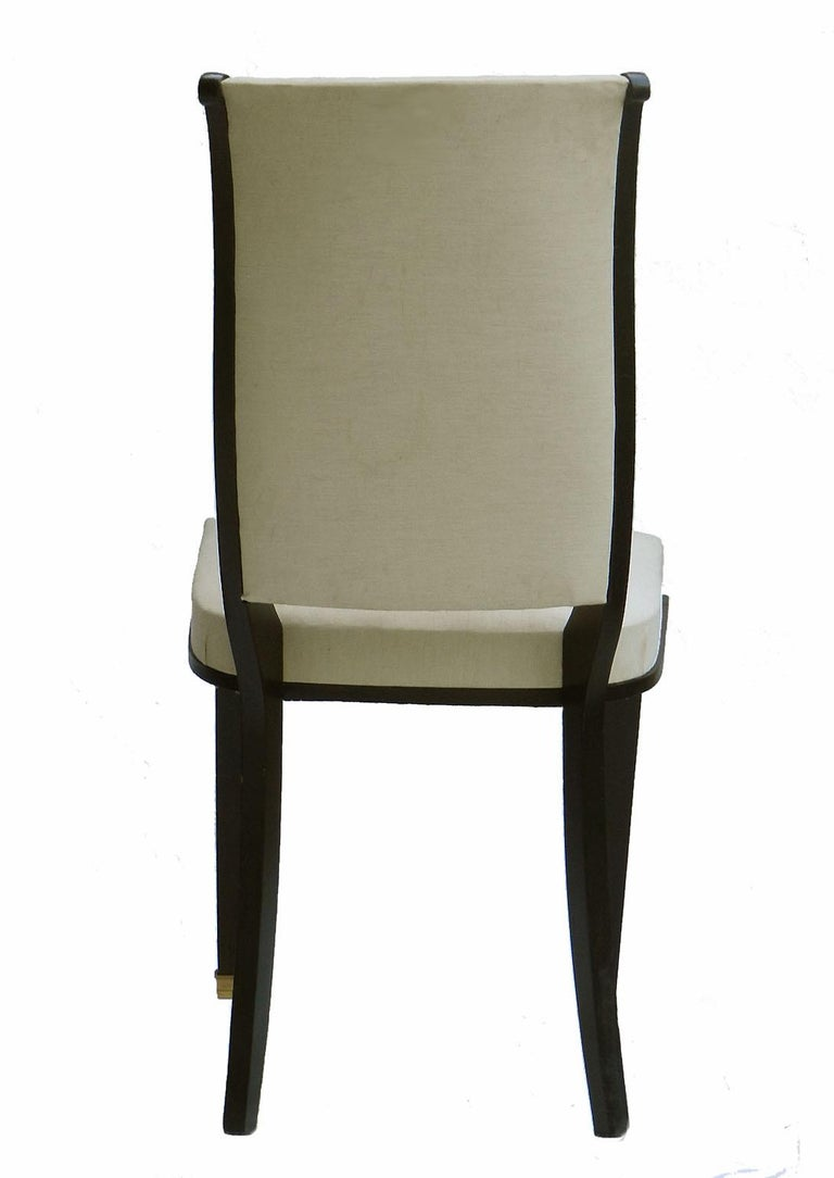 20th Century Six Dining Chairs Art Deco Empire Rev French Upholstered style of Andre Arbus For Sale