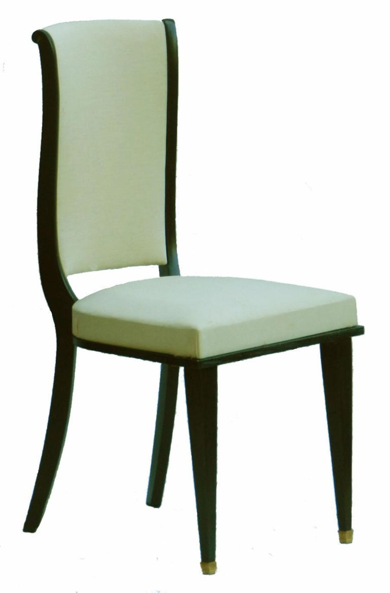 Upholstery Six Dining Chairs Art Deco Empire Rev French Upholstered style of Andre Arbus For Sale