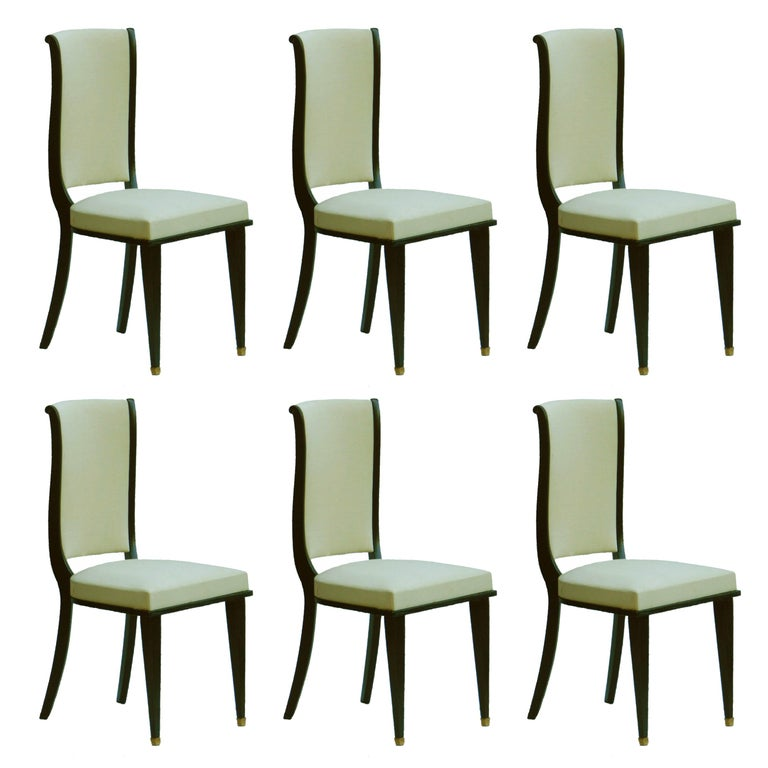 Six Dining Chairs Art Deco Empire Rev French Upholstered style of Andre Arbus For Sale