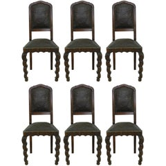 Six Dining Chairs 1910 Art Nouveau Art Deco Rare Find Hollywood Grotto FREE SHIP