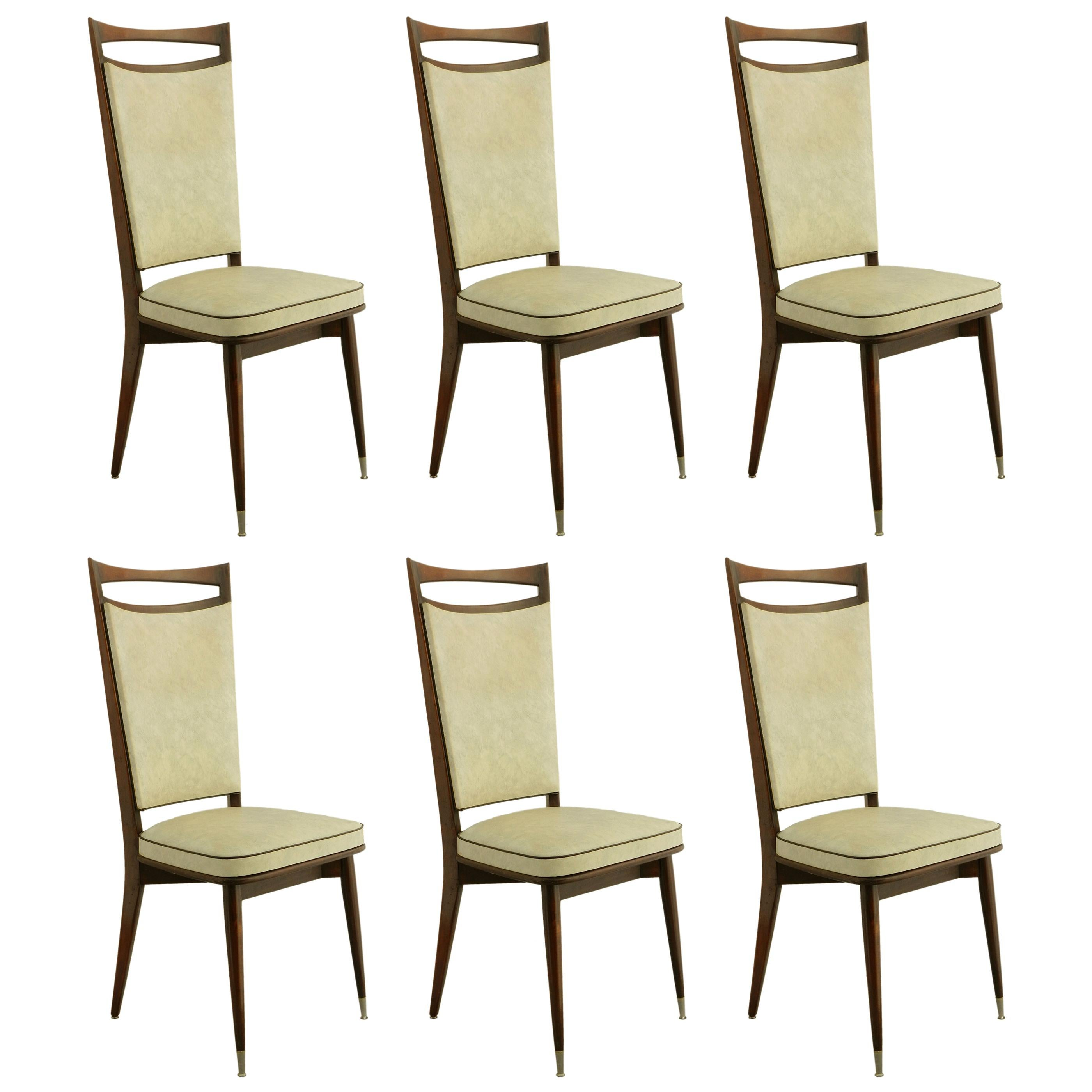 Six Dining Chairs circa 1960 Upholstered Midcentury