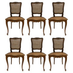 Six Dining Chairs Caned French Louis XV Revival
