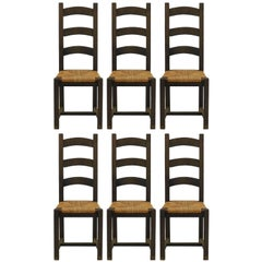 Six Dining Chairs French 20th Century Ladder Back Rush Shaker Style FREE SHIP