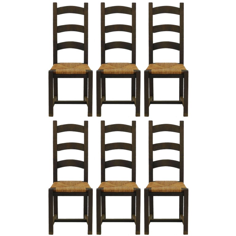 Six Dining Chairs French 20th Century Ladder Back Rush Shaker Style For