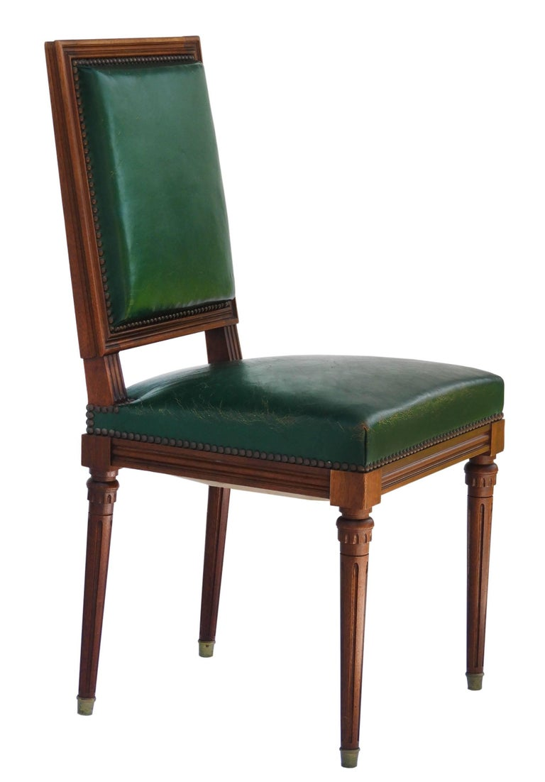 Six Dining Chairs French Louis Xvi Revival Green Leather