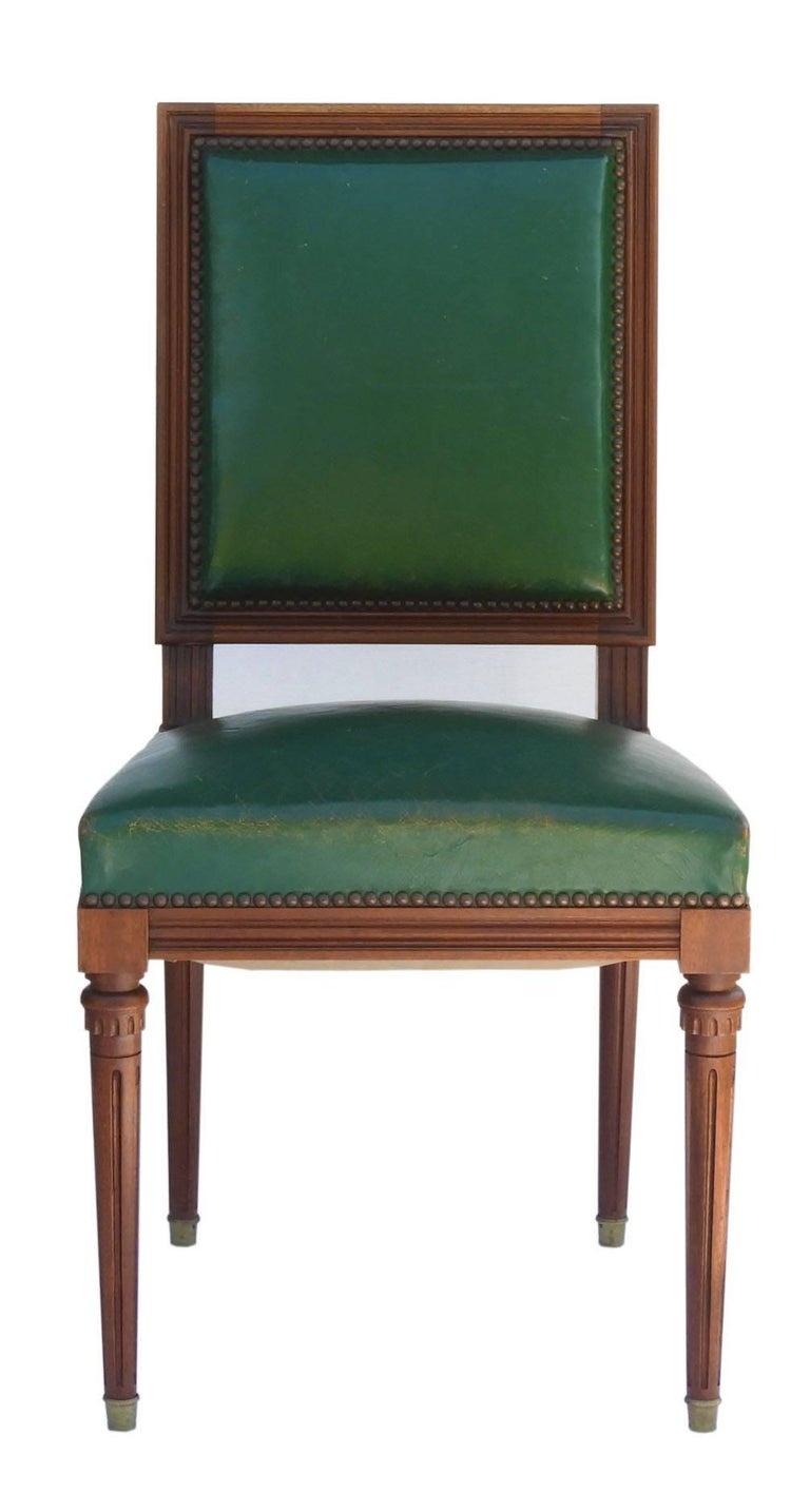 20th Century Six Dining Chairs French Louis Xvi Revival Green Leather Upholstered Circa 1920 For