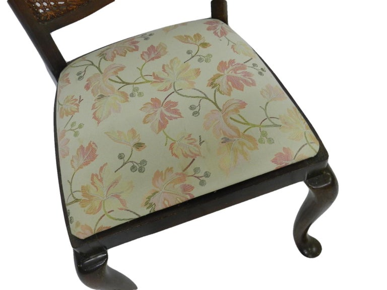Louis XV Six Dining Chairs French Cane Back Upholstered, 20th Century For Sale