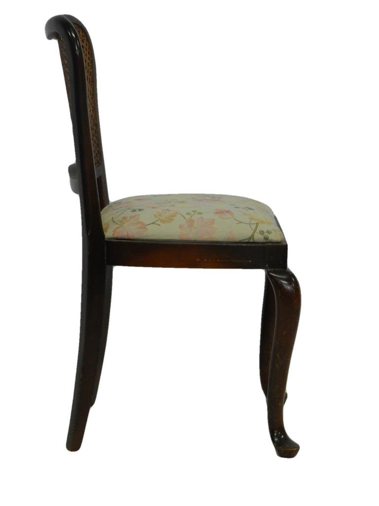 Mid-20th Century Six Dining Chairs French Cane Back Upholstered, 20th Century For Sale