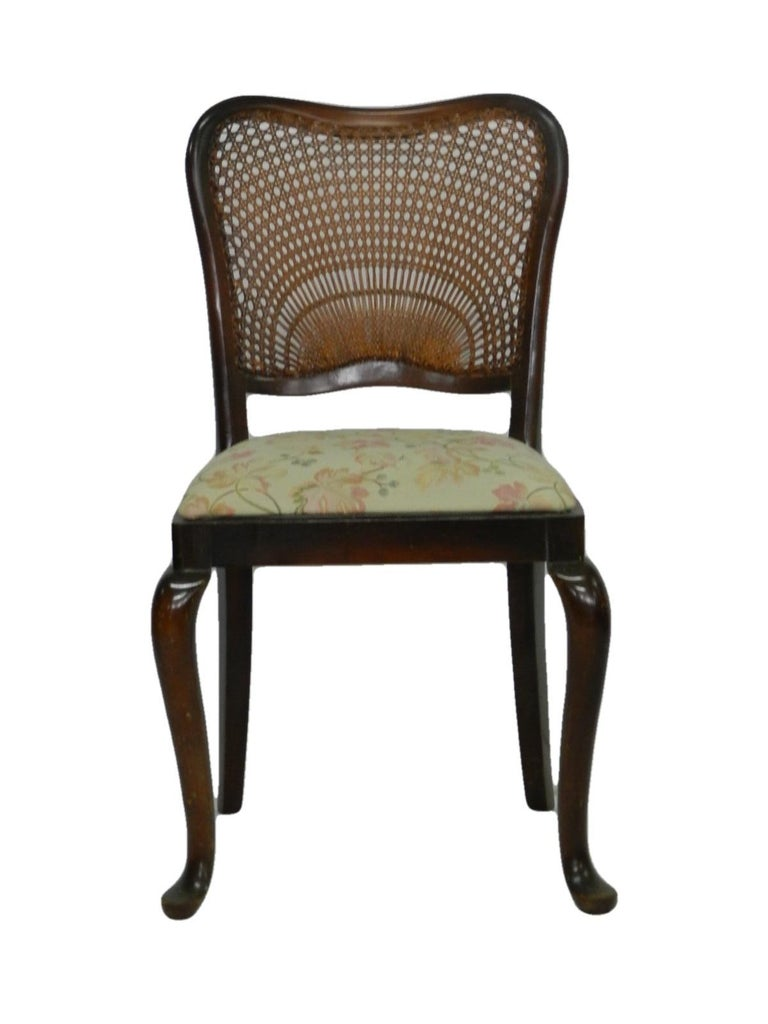 Six Dining Chairs French Cane Back Upholstered, 20th Century For Sale 3