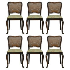 Six Dining Chairs French Cane Back Upholstered, 20th Century