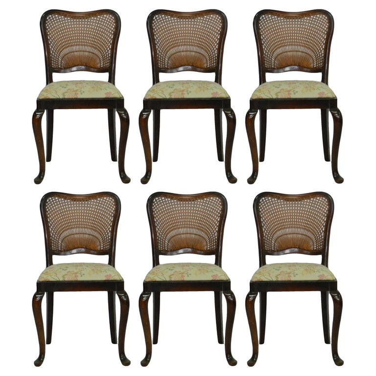 Six Dining Chairs French Cane Back Upholstered, 20th Century For Sale