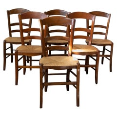 Six Dining Chairs French Country Ladder Back Rush Seats, Early 20th Century