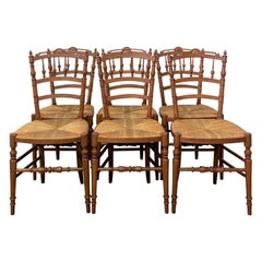 Six Dining Chairs French Rush Seats and Baluster Backs, Late 19th Century