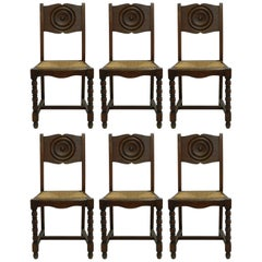 Six Dining Chairs French Vintage Art Deco Era Basque Modernist Rush Seats