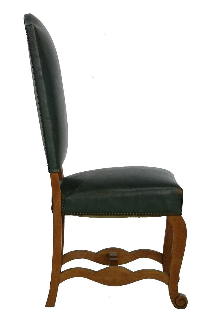 Six Dining Chairs Green Leather Upholstered French Circa