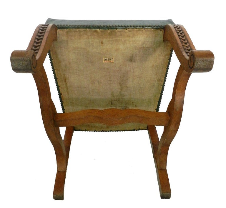 Six Dining Chairs Green Leather Upholstered, French, circa ...