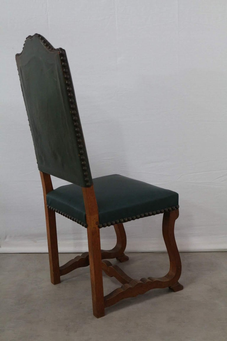 Oak Six Dining Chairs High Back Upholstered to Recover French, circa 1920 For Sale