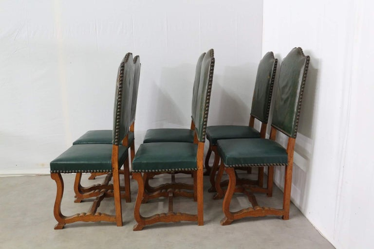 Six Dining Chairs High Back Upholstered to Recover French, circa 1920 For Sale 1