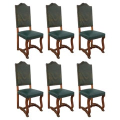 Six Dining Chairs High Back Upholstered to Recover French, circa 1920