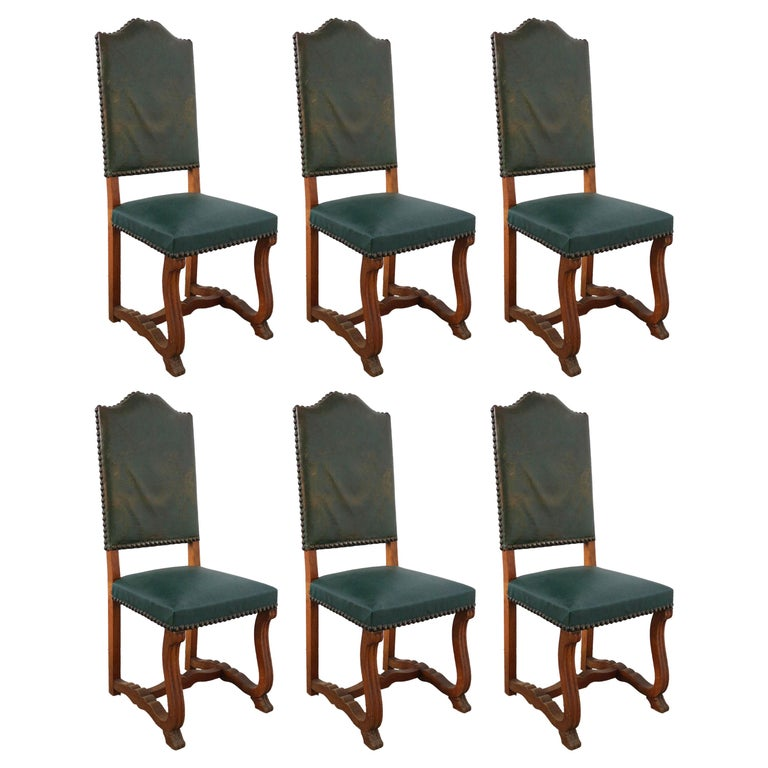 Six Dining Chairs High Back Upholstered to Recover French, circa 1920 For Sale
