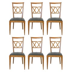 Six Dining Chairs Midcentury French Crossed Wood Backs, circa 1950