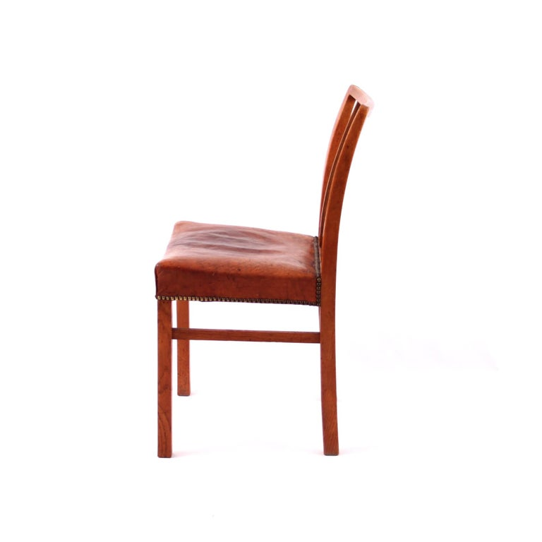 Danish Six Dining Chairs Oak and Nigerian Leather, Denmark, 1930s For Sale